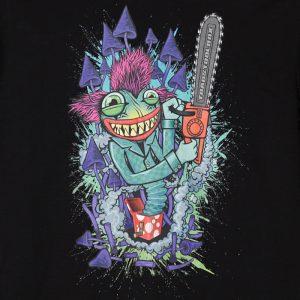 Kuva printistä, Toadstoolbox - Mr. Toad mustalla t-paidalla. (Valokuva tuotteesta)