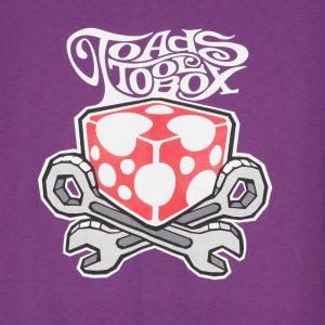Kuva printistä, toadstoolbox logo violetilla t-paidalla